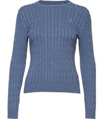 stretch cotton cable c-neck gebreide trui blauw gant