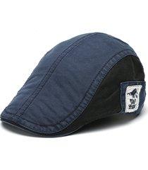 berretto a visiera regolabile casual per uomo in cotone con ricamo sul berretto
