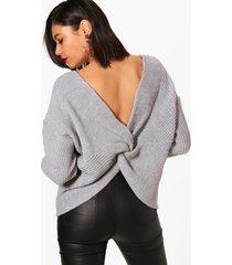 crop twist sweater, silver