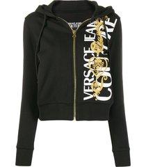 versace jeans couture logo baroque zip-up hoodie - black