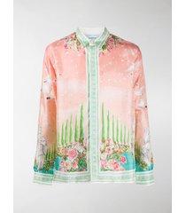 casablanca maison de repos print silk shirt