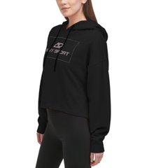 dkny sport women's cotton rhinestone graphic hoodie