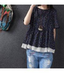 zanzea mujeres más el tamaño de manga corta suéter superior tee camiseta floral de la blusa -azul