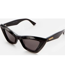 bottega veneta women's oversized cat eye acetate sunglasses - black/grey