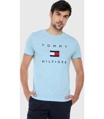 camiseta azul claro-rojo-blanco tommy hilfiger