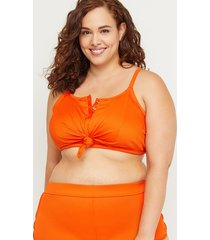 lane bryant women's snap & knot longline swim bikini top with no-wire bra 28 mandarin red