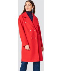 na-kd classic double breasted coat - red