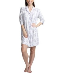 muk luks printed notch collar sleepshirt nightgown