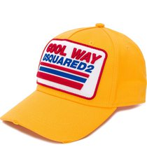 dsquared2 logo patch baseball cap - yellow