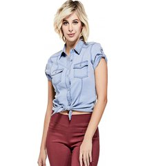 camisa ss zaya denim top celeste guess