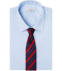cravatta su misura, lanieri, regimental riga regular blu e bordeux, quattro stagioni | lanieri