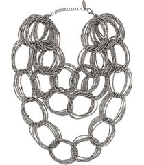 brunello cucinelli chunky bead-chain necklace - grey