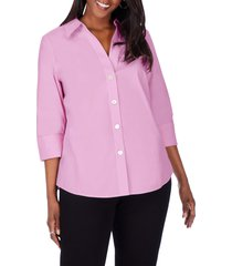 foxcroft paityn non-iron cotton shirt, size 24w in rose frost at nordstrom