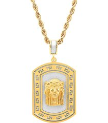 anthony jacobs men's 18k goldplated stainless steel sandblast jesus head dog tag pendant necklace