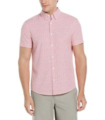 perry ellis motion men's slim fit short sleeve shirt white & pink houndstooth - size: xxl