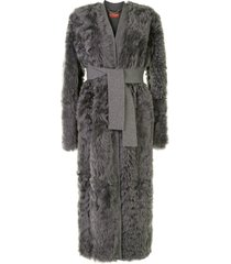 altuzarra cleo belted midi coat - grey