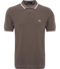 fred perry m3600 twin tipped polo shirt - mid grey m3600-614