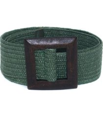 cinturon arpillera hebilla cuadrada verde mailea