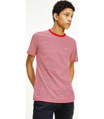 tommy hilfiger men's organic cotton tommy classics stripe t-shirt deep crimson / white - xxl