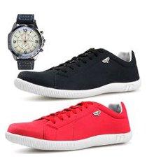 kit 2 pares sapatenis neway sw preto + vermelho+ relógio