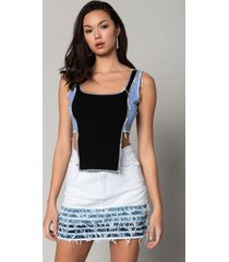 akira more than a lover extended front contrast trim crop tee