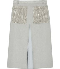 burberry embellished pocket a-line skirt - grey