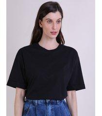 t-shirt feminina mindset alongada manga curta decote redondo preta