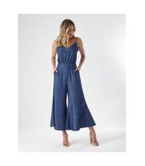 macacão jeans pantalona feminino