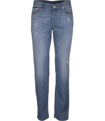brunello cucinelli lightweight denim traditional fit five-pocket trousers with rip details