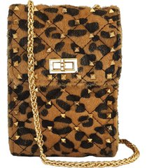 mini bolsa bag dreams animal print com spikes caramelo