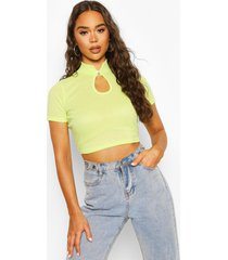 ribbed high neck cut out top, apple green