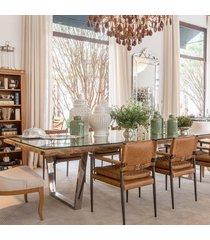 mesa de jantar retangular com tampo de madeira e aço inox v shape 2.00m x 1.00m