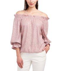 msk off-the-shoulder foil crinkled puff-sleeve knit top