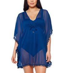 bleu by rod beattie pompom cover-up caftan, size small in navy at nordstrom