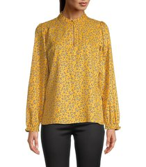 karl lagerfeld paris women's printed ruffled top - golden rod - size m
