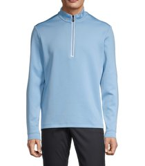 original penguin men's quarter-zip sweatshirt - dusk blue - size l