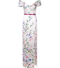 marchesa notte off-the-shoulder mikado gown - pink