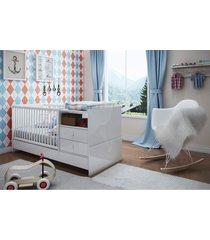 berã§o cama com mesa de cabeceira branco completa mã³veis - branco - dafiti