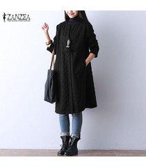 zanzea botón de manga larga de invierno de mujer chaqueta de abrigo informal suelta camisa vestido plus -negro