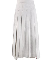 thom browne seersucker long pleated skirt - grey