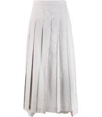 thom browne seersucker long pleated skirt - grey