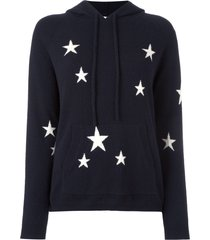 chinti and parker cashmere star intarsia hooded sweater - blue