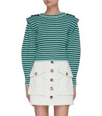 melange stripe button shoulder sweater