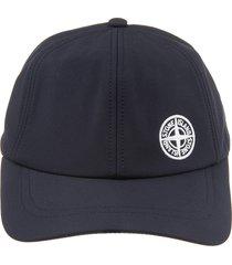 stone island navy blue man baseball cap with logo