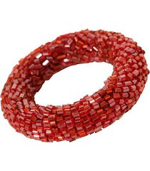 porta-guardanapo artesanal de vidrilhos decorativo ring red