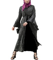 urban modesty women's striped ruffle maxi cardigan