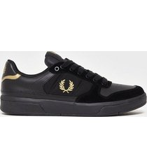 fred perry b300 lthr/mesh/suede sneakers black