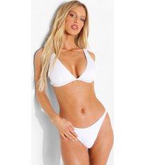 gekreukelde bikini top met laag decolleté en vollere cups, white