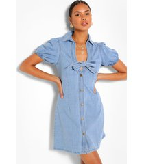 denim puff sleeve tie front dress, mid blue