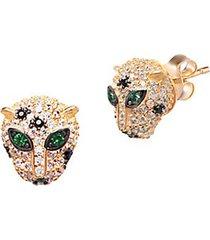 22k goldplated crystal panther stud earrings